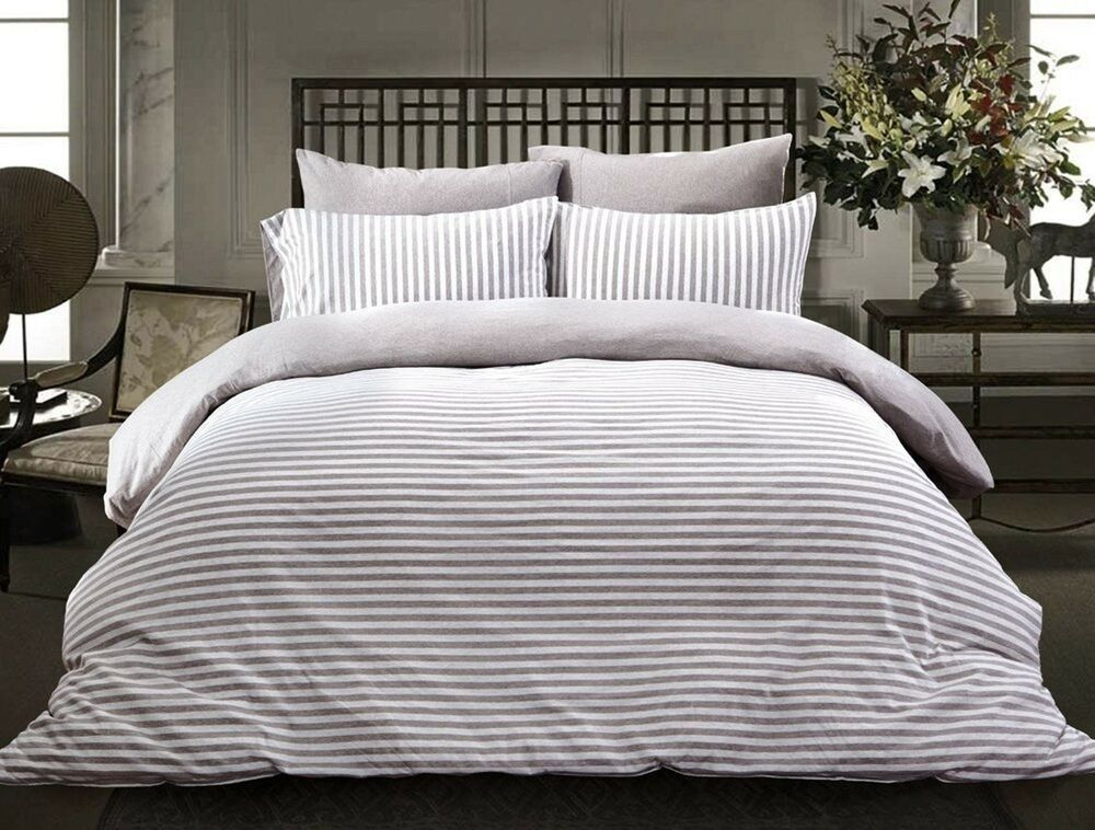 100% Cotton 4pcs Striped Duvet Cover Set Fitted Sheet Included Full Queen King