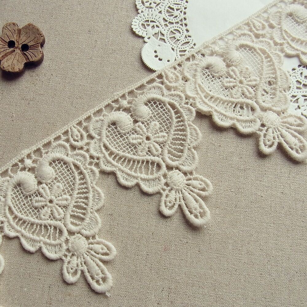 1yd Antique Style Embroidery Cotton Crochet Lace Trim 7.2cm Wide Lovely Heart | EBay