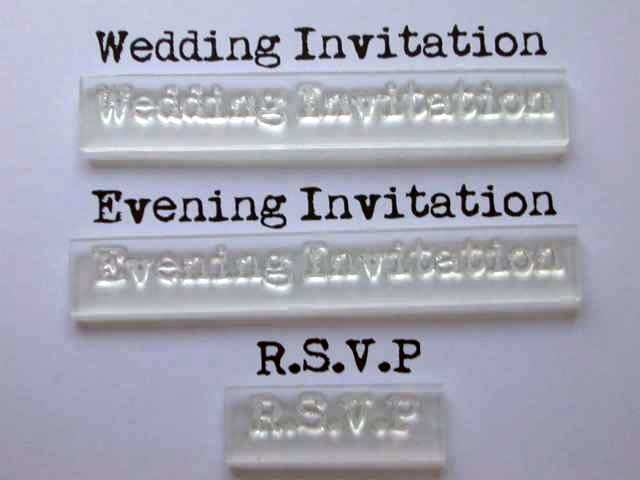 Wedding evening invitation clear stamps with rsvp for for Wedding rsvp cards stamps