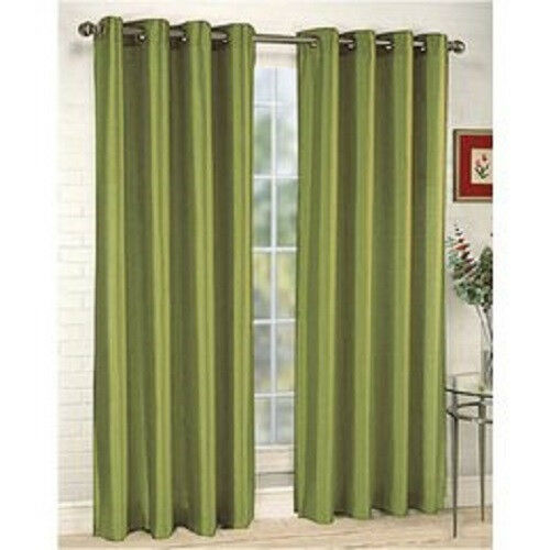 RT Two Sage Green Window Curtain Panel Drape Faux Silk 8 Grommets ...