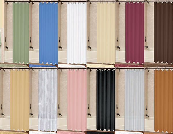 1pc Solid Vinyl Bathroom Shower Curtain Liner With Metal