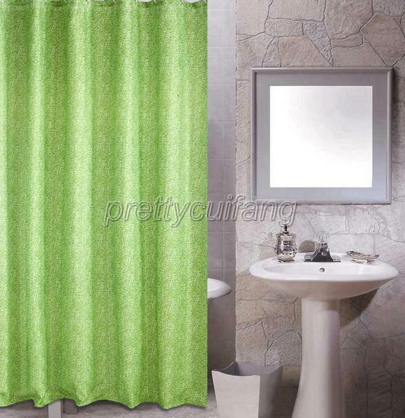 Simple Elegant Bathroom Designs: Elegant Simple Green Design Bathroom Fabric Shower Curtain
