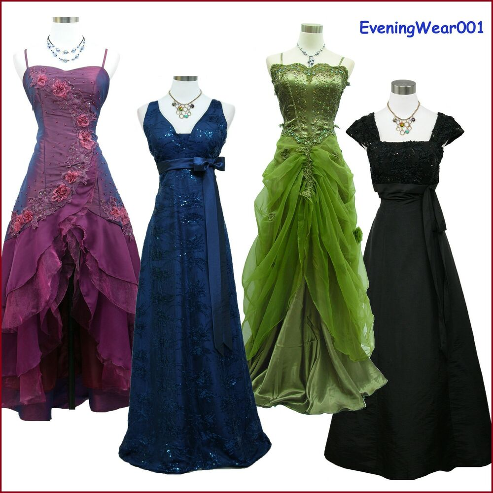 Cherlone satin ball long gown lace formal prom wedding for Ebay wedding bridesmaid dresses