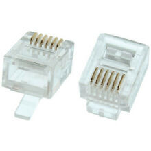 Eagle 100 Pack RJ12 Plug Connector Modular Solid Round 6P6C Gold Plated Plugs