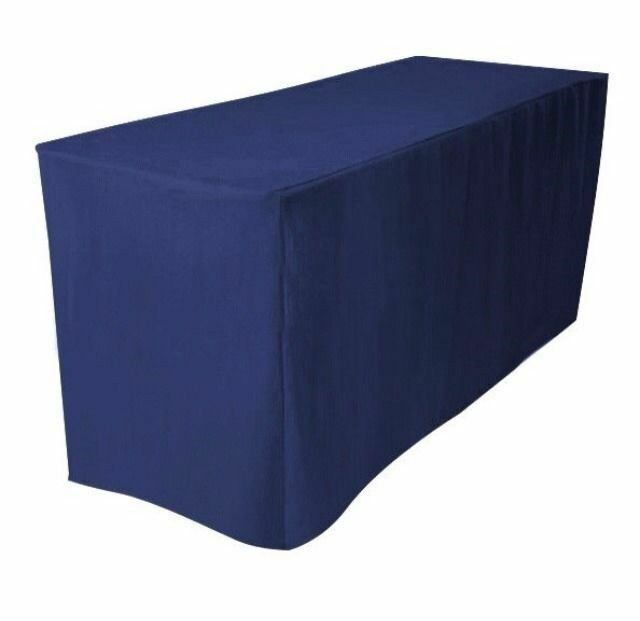 6 39 ft fitted polyester tablecloth trade show banquet booths table cover dj navy ebay. Black Bedroom Furniture Sets. Home Design Ideas