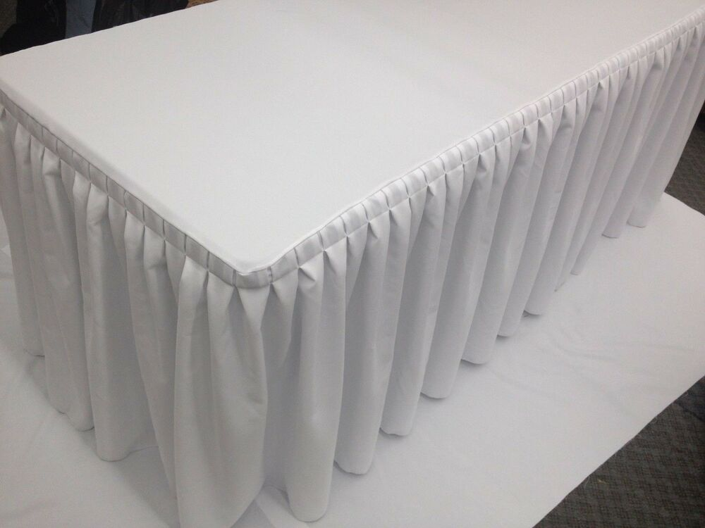 6 Ft Fitted Table Skirt Cover W Top Topper Double