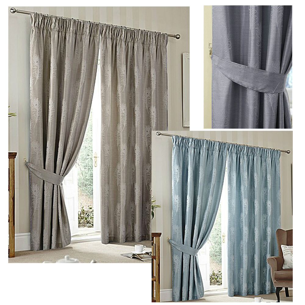 PEACOCK luxury lined curtains feather design deep tape blue, silver ...