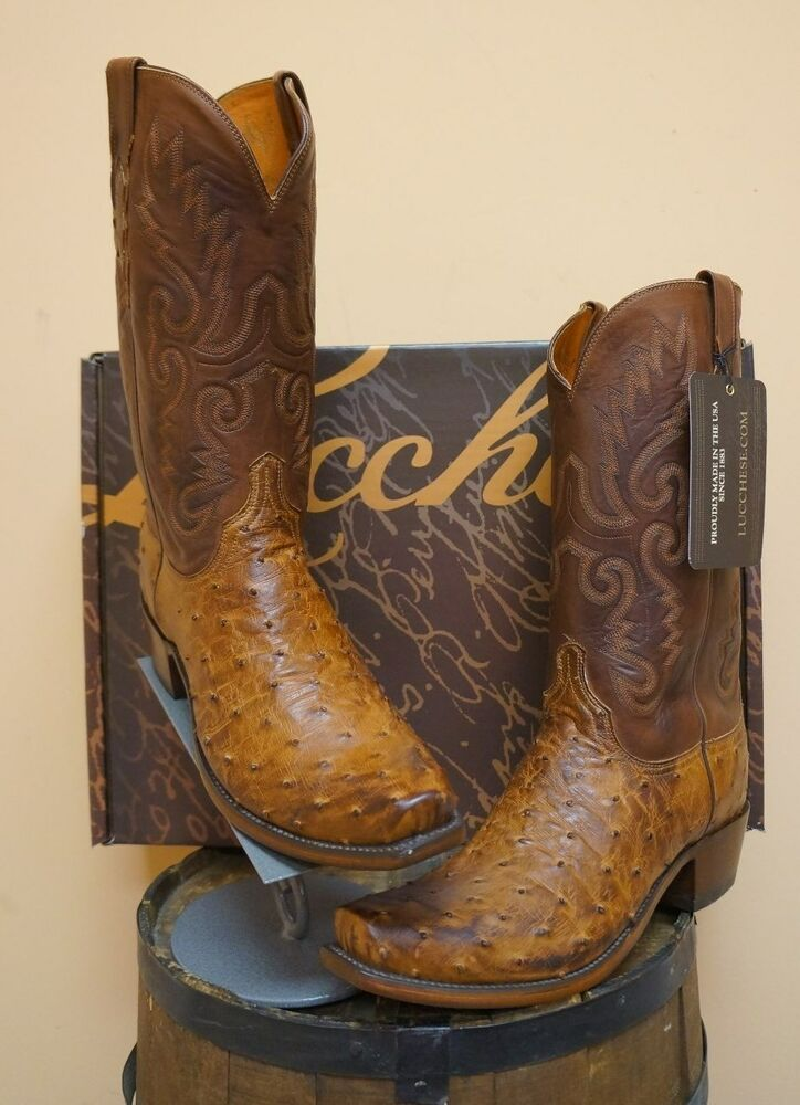 mens lucchese cowboy boots 1883 collection nib ostrich