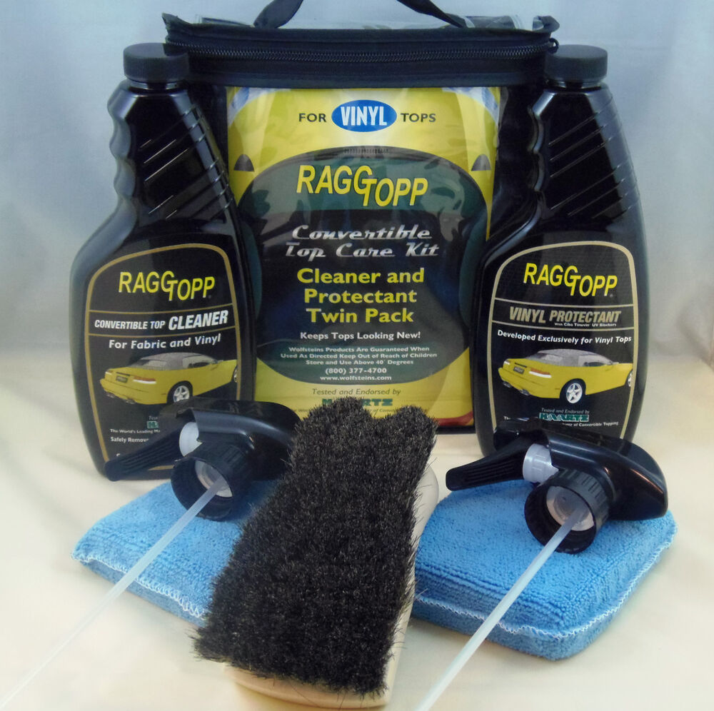 raggtopp vinyl protectant cleaner kit horse hair convertible brush 2 microfibers ebay. Black Bedroom Furniture Sets. Home Design Ideas