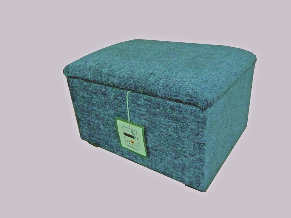 Teal Chenille Footstool Pouffe With Storage Free P Amp P Ebay