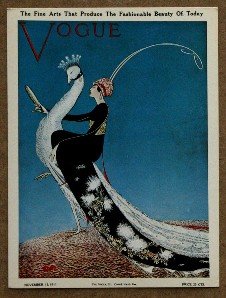 vogue magazine cover peacock fashion 1911 art deco original 1960s card print ebay. Black Bedroom Furniture Sets. Home Design Ideas