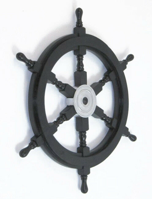 Black Pirate Ship S Steering Wheel 24 Quot Wooden Nautical