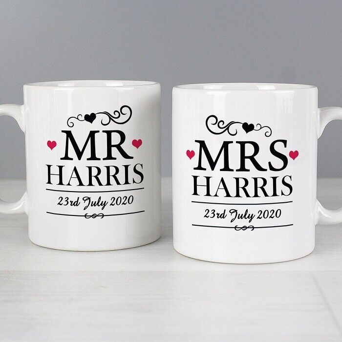 Personalised Mr and Mrs Mug Gift Set - Bride and Groom Wedding Gift ...