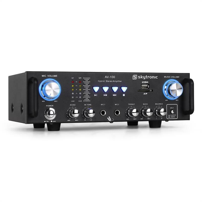 home stereo amplifier music hifi amp karaoke 2x mic input black usb sd card mp3 ebay. Black Bedroom Furniture Sets. Home Design Ideas
