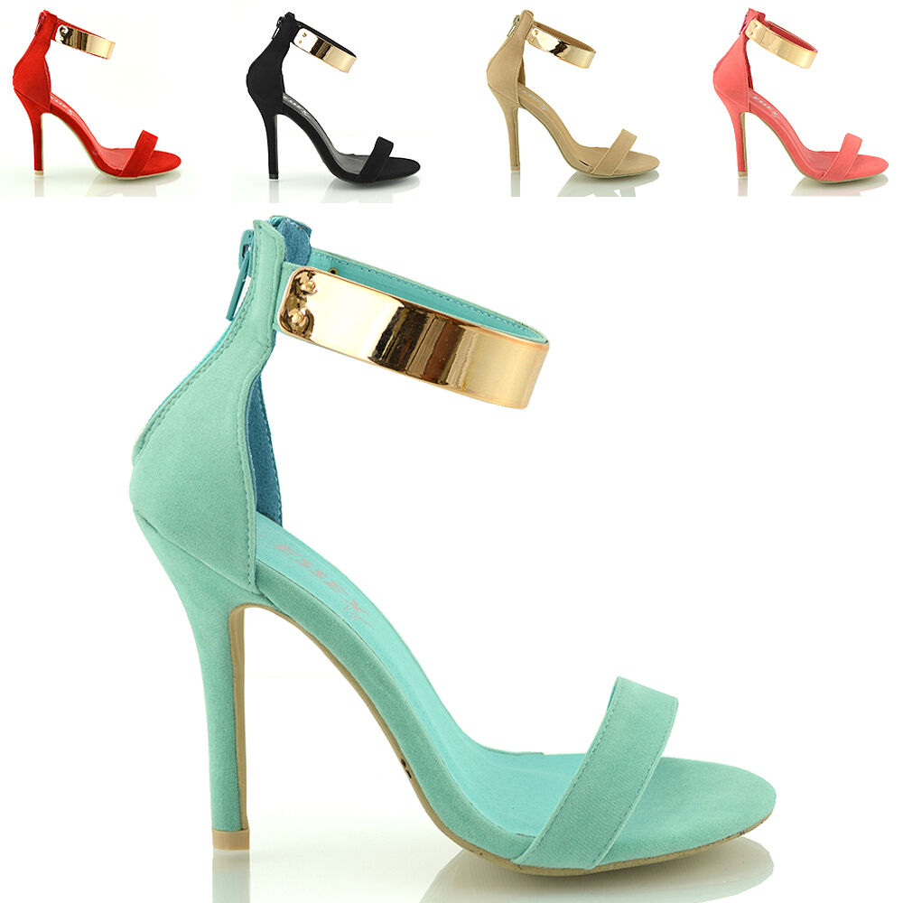 LADIES STILETTO ANKLE CUFF STRAP WOMENS HIGH HEEL STRAPPY SANDALS ...