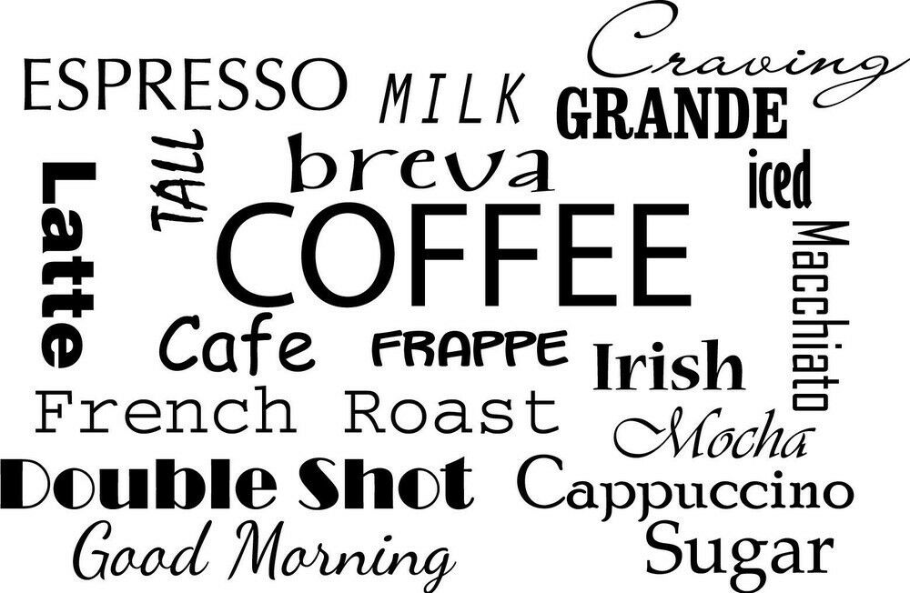 Coffee Quotes: COFFEE COLLAGE Kitchen Dining Room Wall Art Decal Quote
