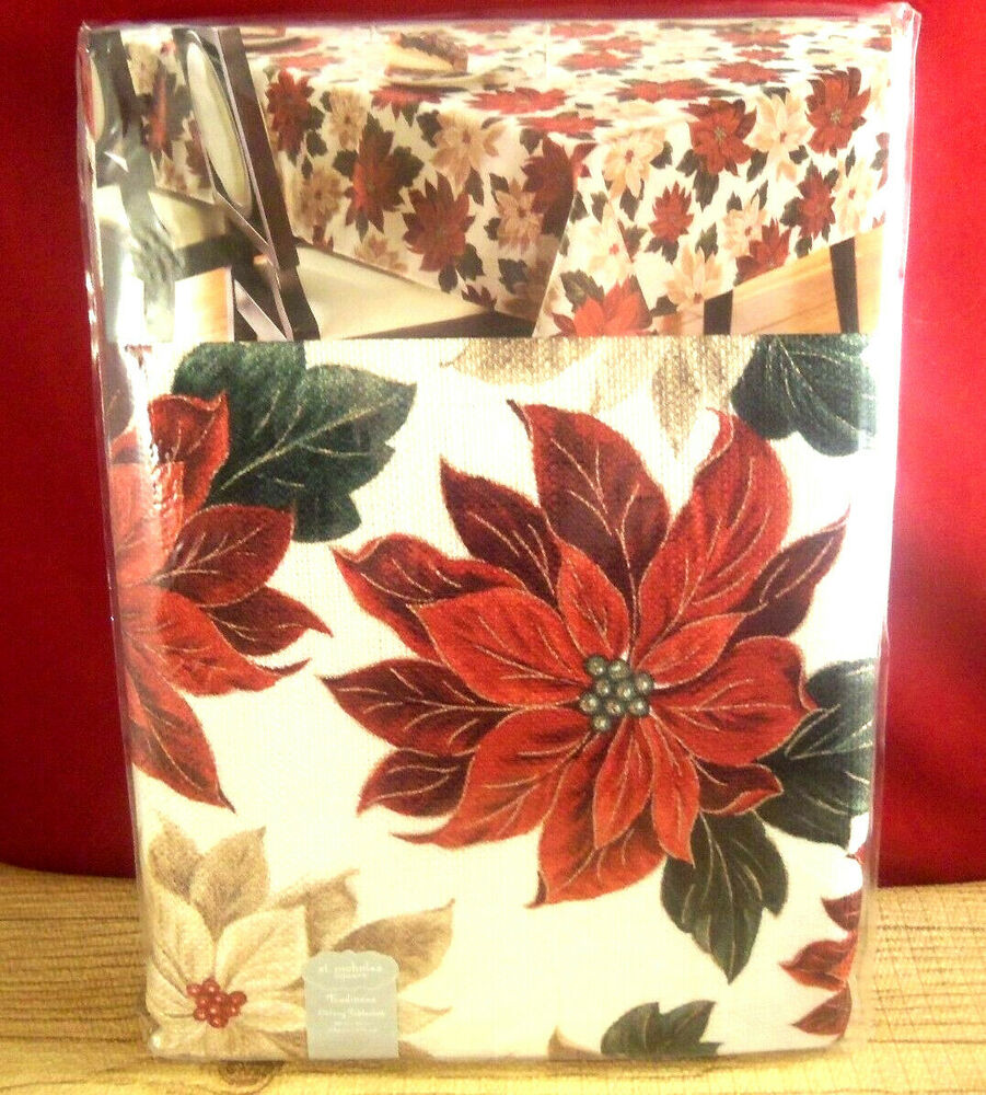 St nicholas square holiday christmas oblong tablecloth poinsettia red
