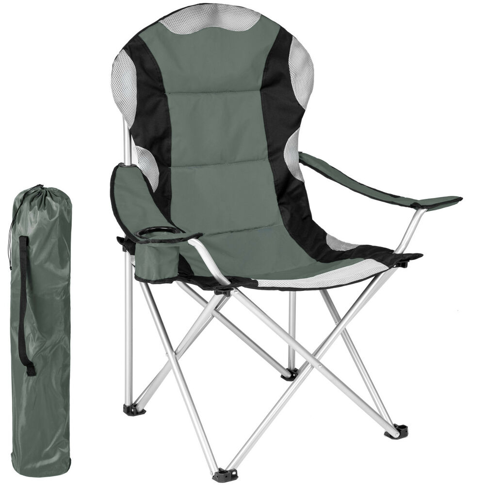 Heavy duty royal padded folding camping directors chair with cup