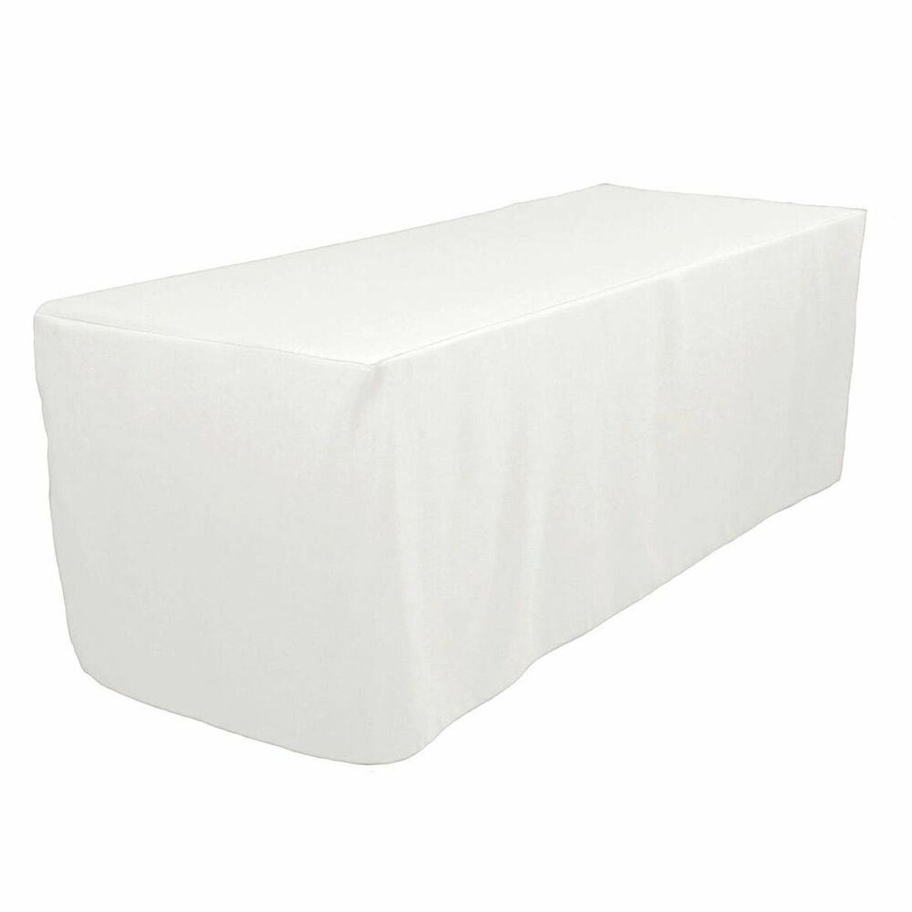 6 39 ft fitted polyester tablecloth trade show booth wedding table cover white ebay. Black Bedroom Furniture Sets. Home Design Ideas
