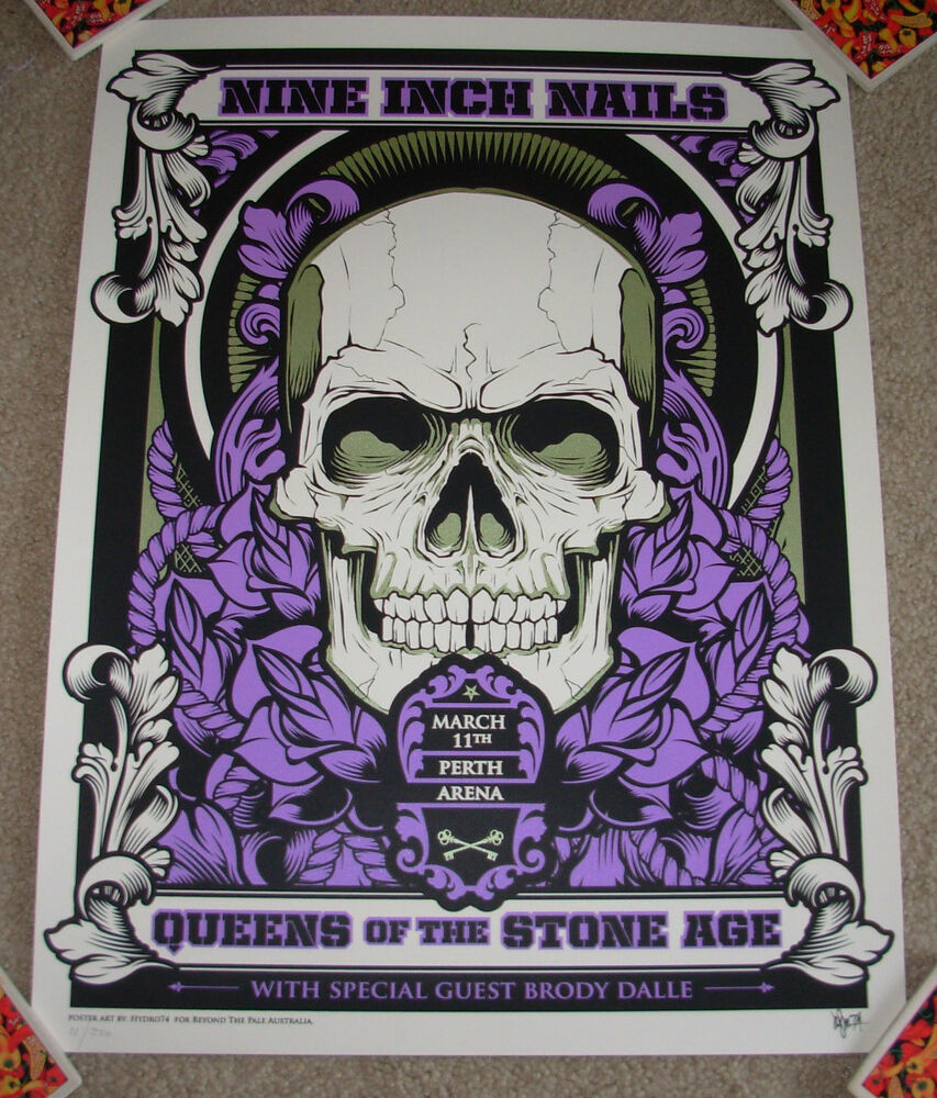 QUEENS OF THE STONE AGE Nine Inch Nails concert gig poster PERTH 3 ...