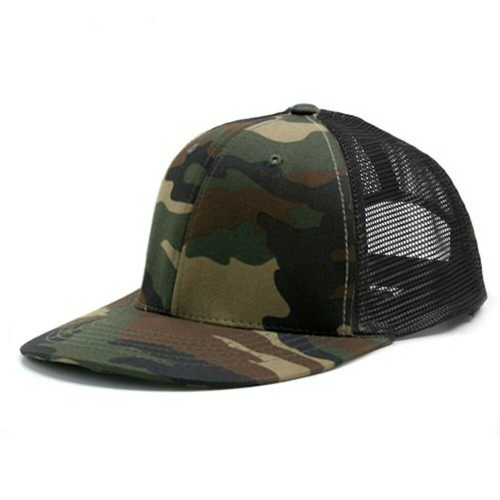 camouflage black 6 panel mesh trucker baseball cap hat