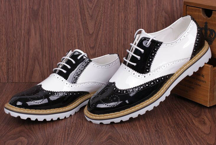 FASHION MENS OXFORD LACE UP WING TIP FAUX LEATHER CASUAL ...