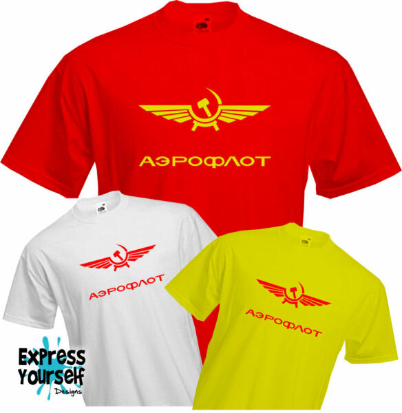 AEROFLOT RUSSIAN AIRLINES - T Shirt, Retro , USSR, Communist, Cold War, Cool,NEW