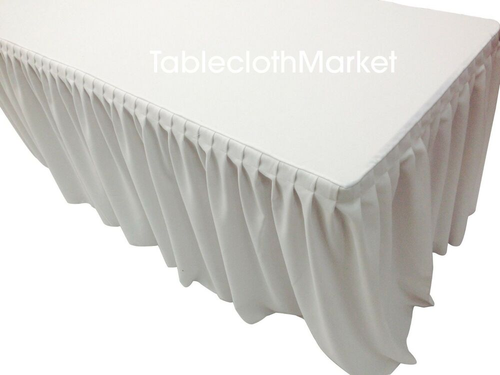 5 fitted single pleated table skirting cover w top
