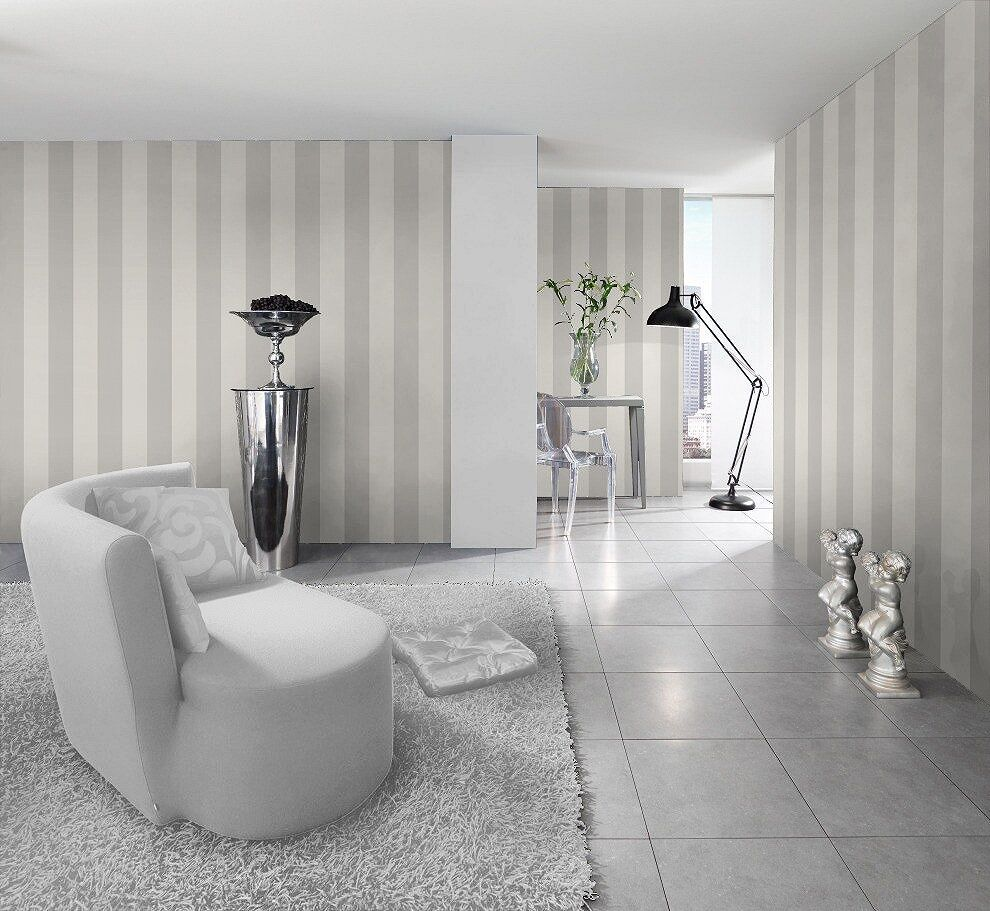 Silver white striped wallpaper stripes are 13cm wide for Grey striped wallpaper living room
