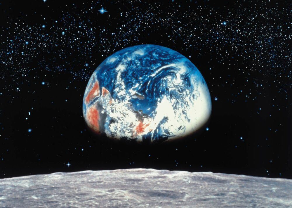 Wall mural photo wallpaper earth view from moon black for Blue moon mural
