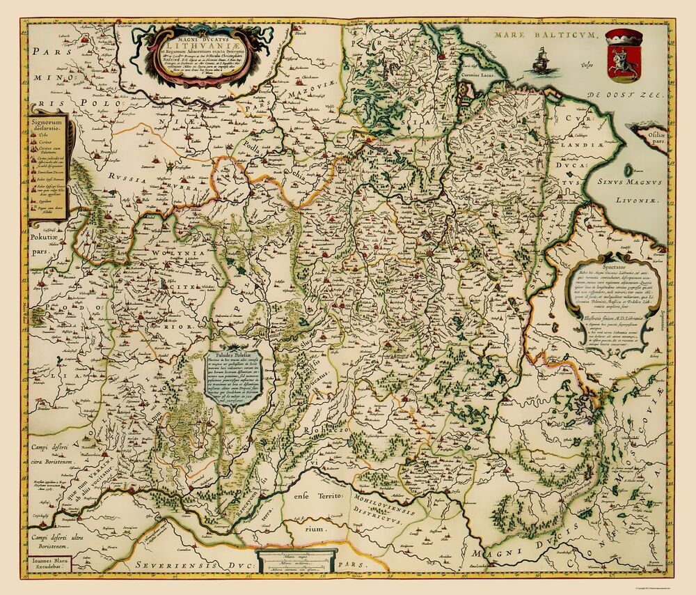 Old Eastern Europe Map - Lithuania - Blaeu 1648 - 23 x 26.95 | eBay