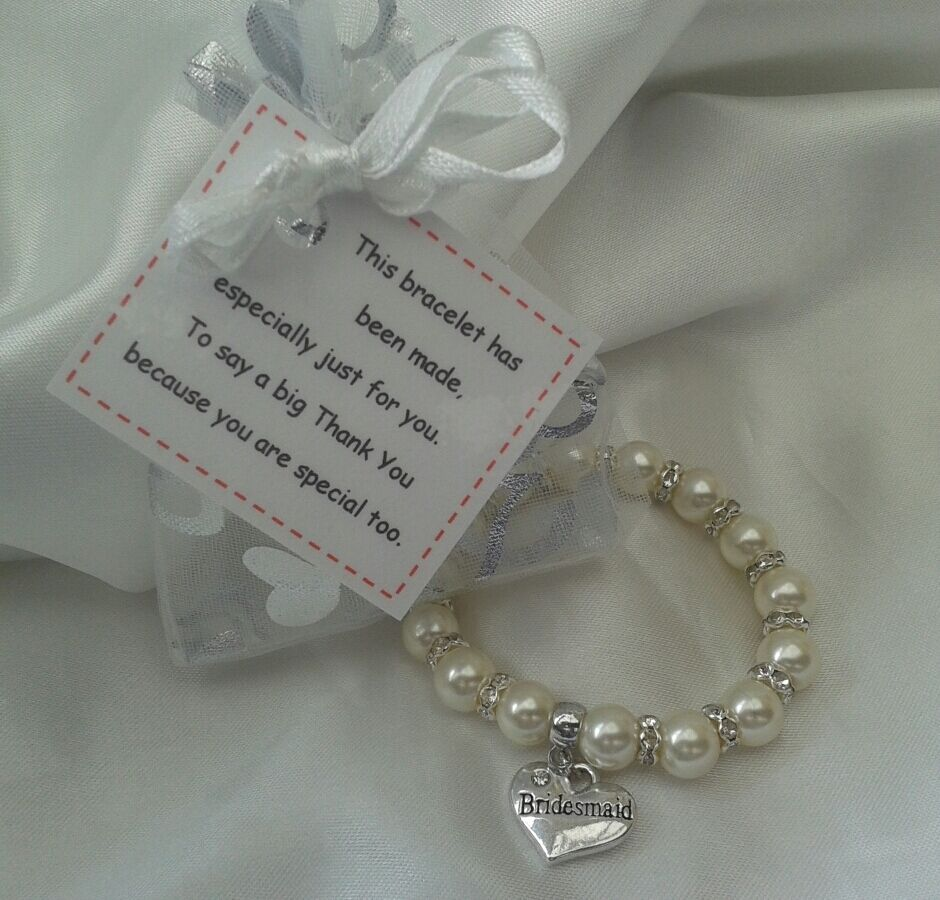 Childrens Wedding Gifts: Bridesmaid Thank You Bracelet & Poem Card