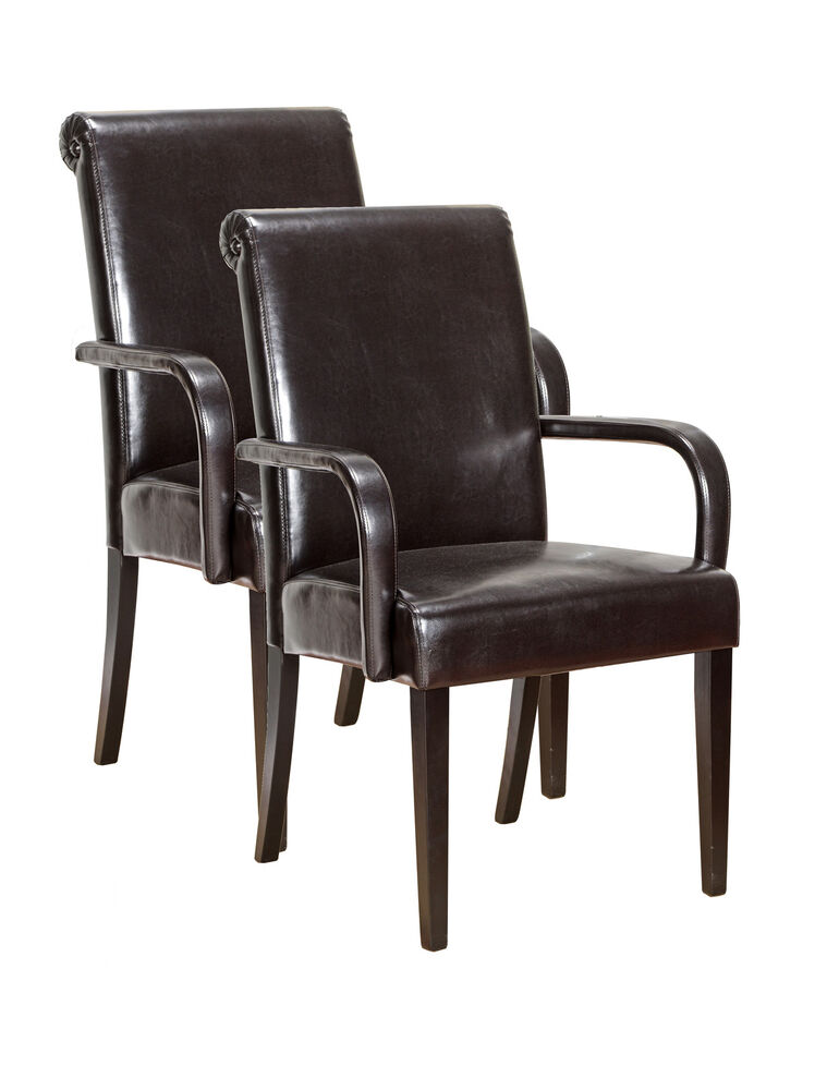 King S Brand Set Of 2 Espresso Parson Chairs With Arms And