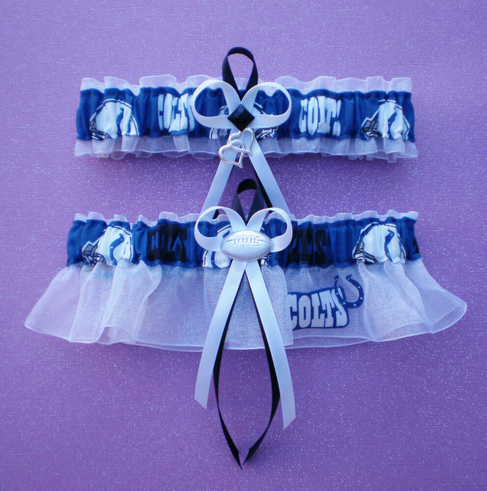 Plus Size Wedding Garters: Indianapolis Colts Plus Size Fabric Wedding Garter Set