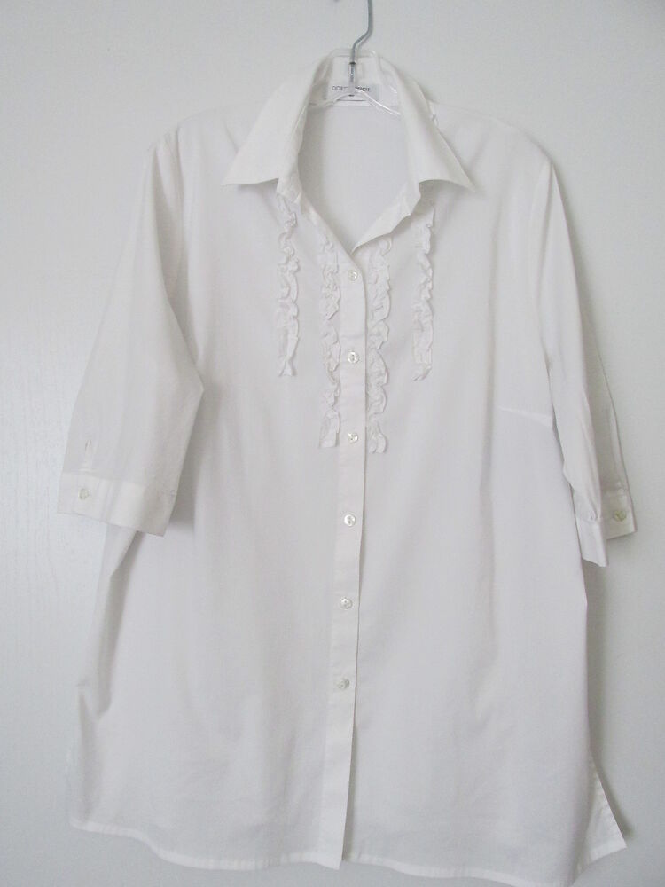 Doris streich white ruffled button front 3 4 sleeve crisp for Crisp white cotton shirt