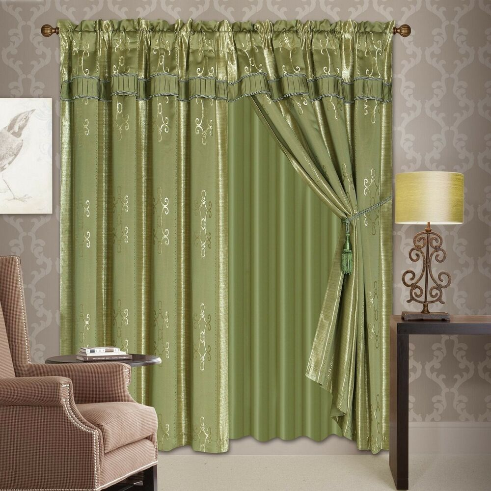 Luxury Lined Curtain Set Drap Valance Sheer Window