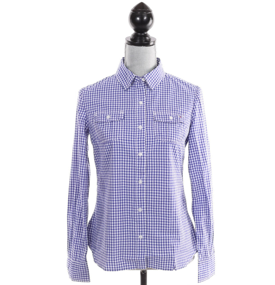 Tommy hilfiger women long sleeve plaid check button down for Plaid button down shirts for women
