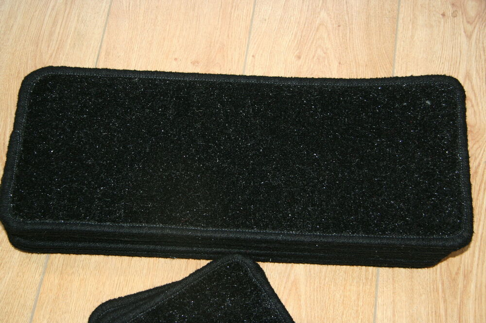 14 Glitter Open Plan Carpet Stair Treads Black Sparkle