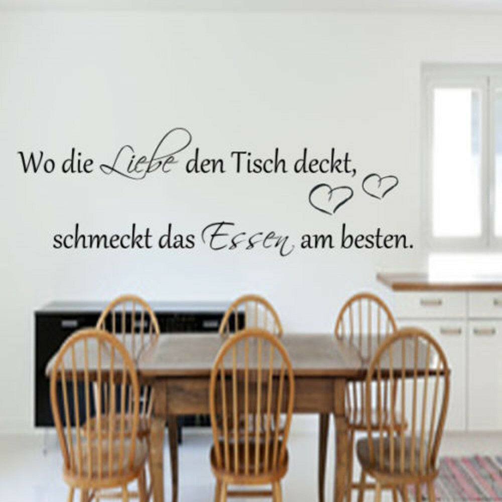 wandtattoo k che esszimmer wo die liebe den tisch deckt wandspruch ebay. Black Bedroom Furniture Sets. Home Design Ideas
