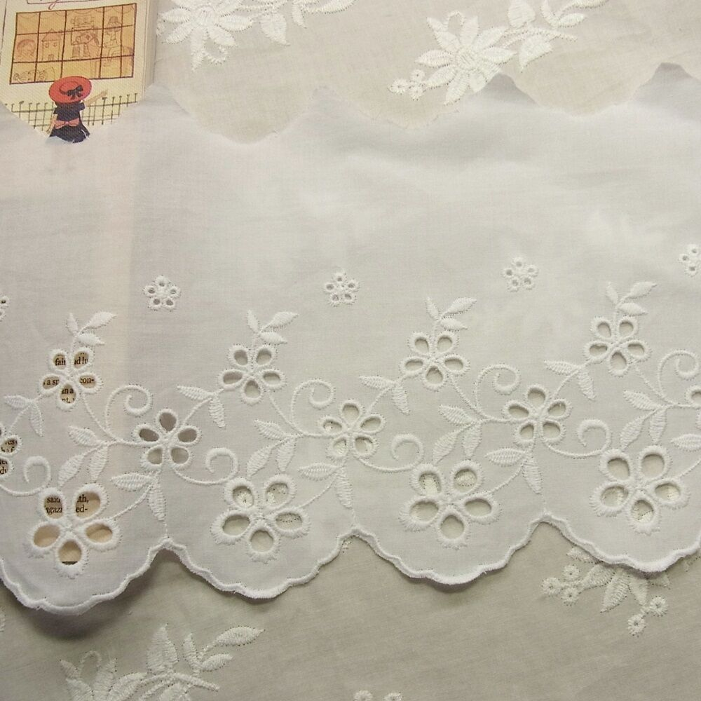 Yard embroidery cotton fabric eyelet lace trim flowers