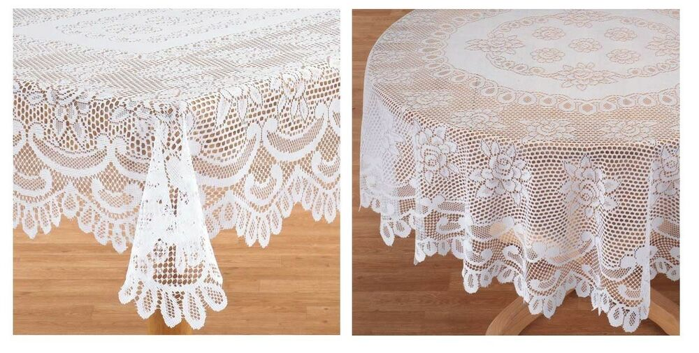 Elegant White Rose Lace Tablecloth Delicate Lovely