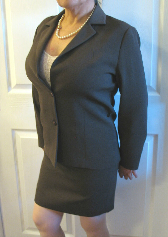 s style comma chocolate brown polyester skirt suit