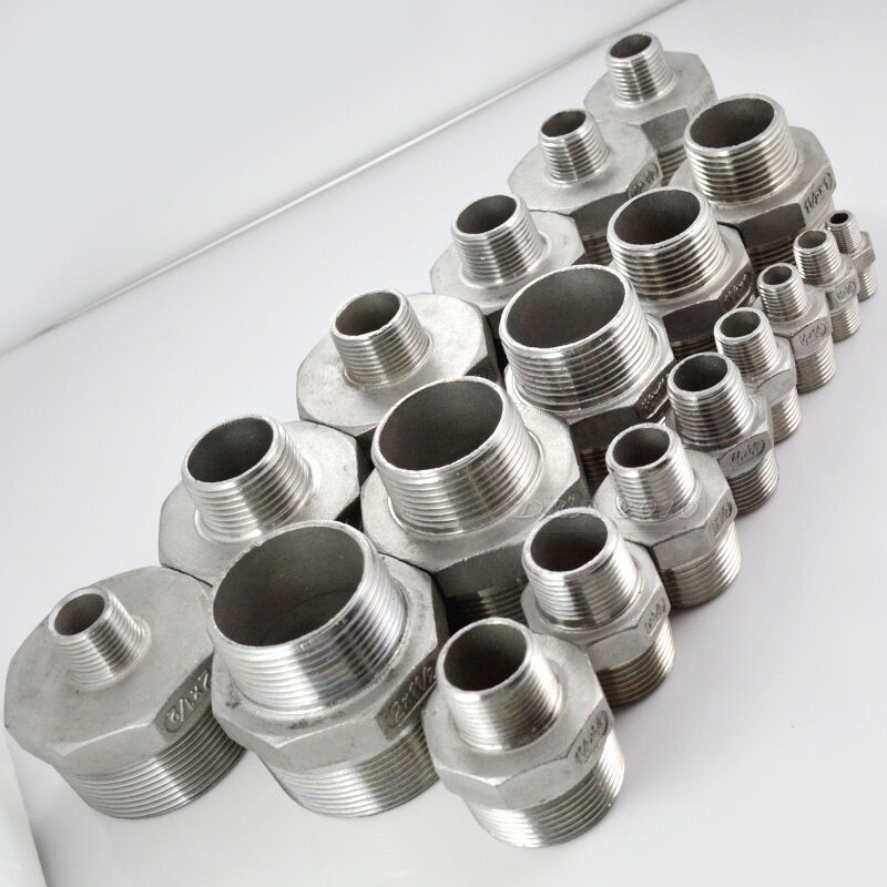 Male hex nipple threaded reducer pipe fitting