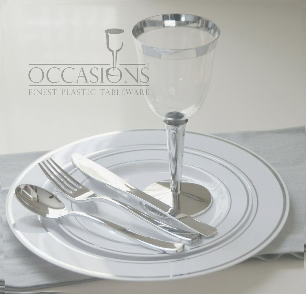 Wedding Party Disposable Plastic Plates and cutlery u0026 wine cups w/ silver rim | eBay & Wedding Party Disposable Plastic Plates and cutlery u0026 wine cups w ...