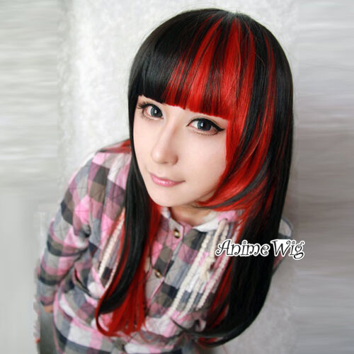lolita schwarz rot lang glatt cosplay wig anime per cke haare party ebay. Black Bedroom Furniture Sets. Home Design Ideas