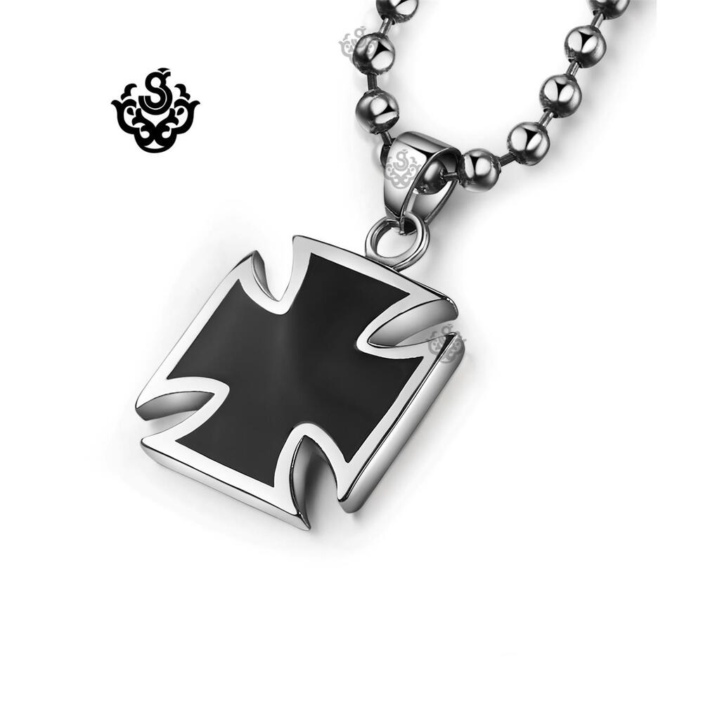 Silver black cross pendant stainless steel necklace ebay for Black and blue jewelry cross necklace