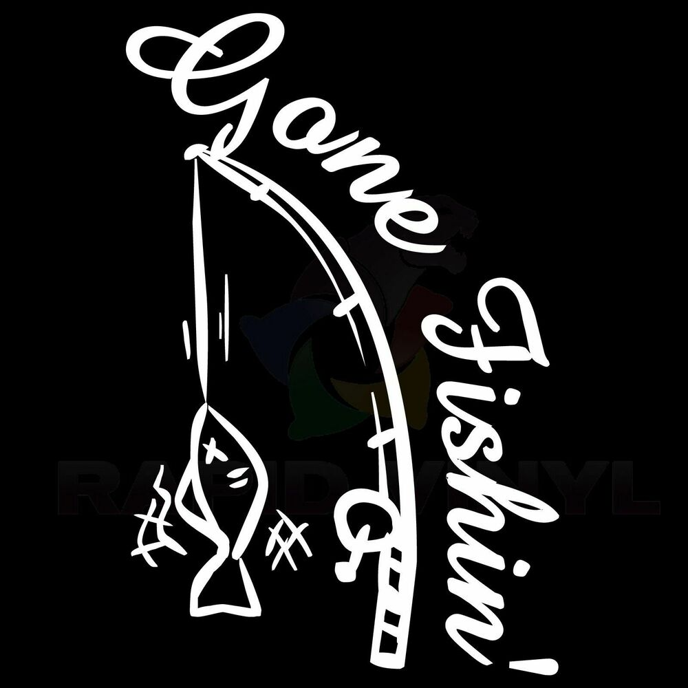 Gone fishin fishing car truck boat rv decal window for Free fishing stickers