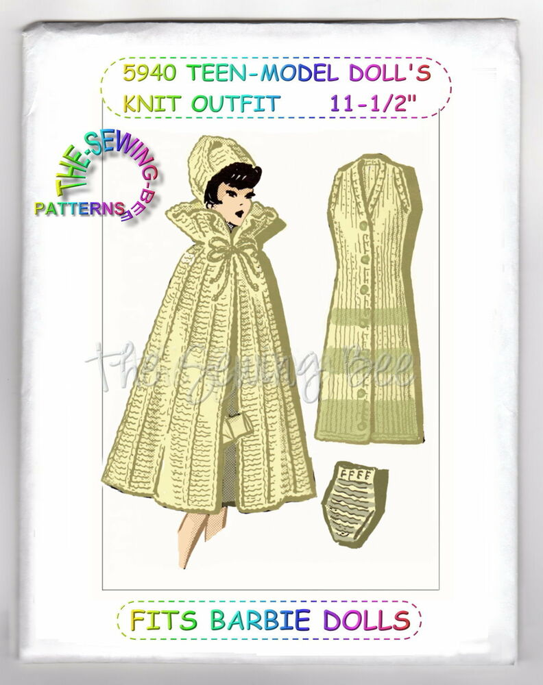 Knitting Pattern Dolls Cape : 5940 Doll Pattern Knitted Cape, Dress & Hat Fits Barbie & other 11-1/...