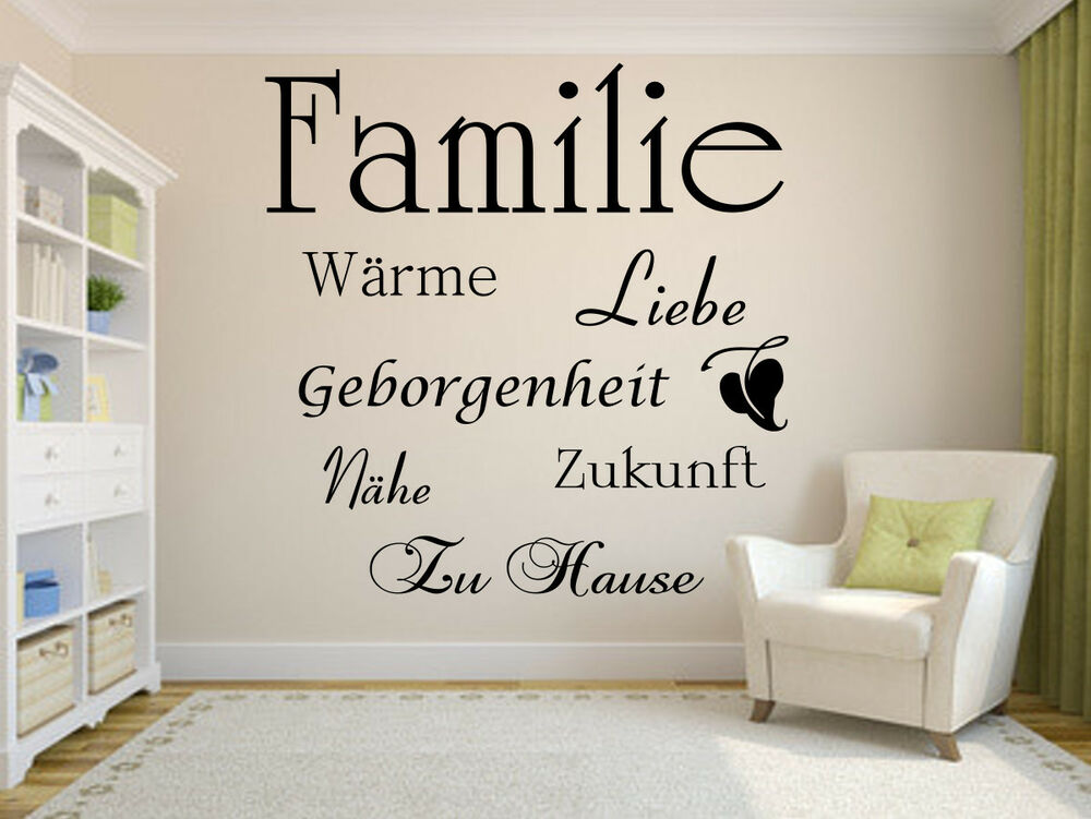 wandtattoo familie wandsticker tapetenaufkleber wand spruch diele wohnzimmer ebay. Black Bedroom Furniture Sets. Home Design Ideas