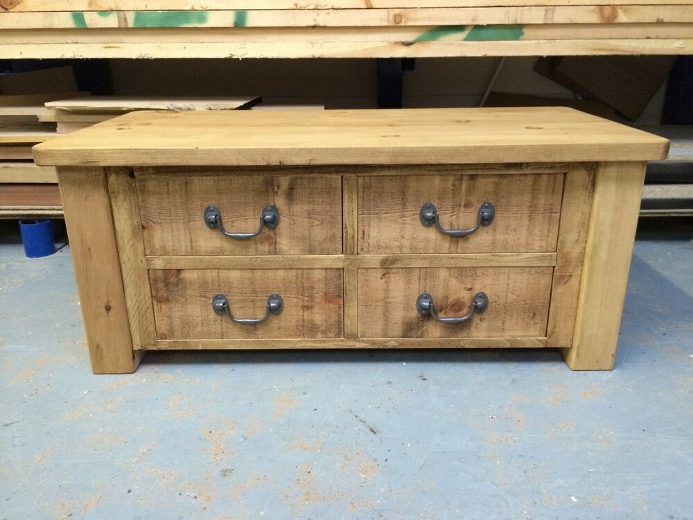 Rustic coffee table large with 4 drawers can be made any for Large coffee table with drawers
